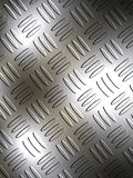 Diamond Metal Plate. Sheet of shiny metal plate with light and shadows for depth and crisscross pattern for a great background Royalty Free Stock Image