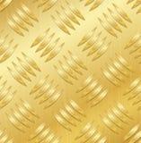 Diamond Metal Plate Seamless Vector Pattern. Corrugated Aluminum Sheet. Golden Metal Seamless Background. Vector Illustration. Stock Images