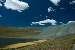 Diamond Mine dump. A lake in the highlands with encroaching mine dump Royalty Free Stock Image