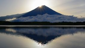 Diamond Mt.Fuji from Lake Tanuki Japan stock video footage