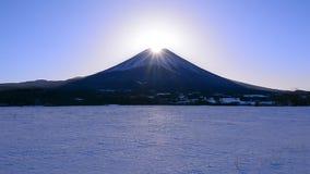 Diamond Mt Fuji van Snowscape van de Prefectuur Japan van 'Fujigane 'Yamanashi stock video