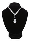 Diamond necklace on black mannequin isolated on white Royalty Free Stock Photo