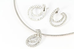 Diamond Necklace and Earring Stock Photos