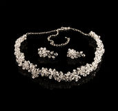 Diamond necklace and earrings Royalty Free Stock Images