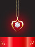 Diamond necklace heart royalty free illustration