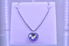 Diamond necklace with large heart-shaped diamond. Royalty Free Stock Image