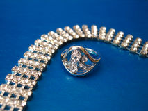 Diamond necklace with ring Royalty Free Stock Photography