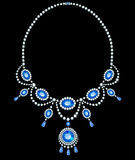 Diamond necklace with sapphires Stock Images