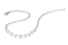 Diamond  necklace on a white background Royalty Free Stock Images