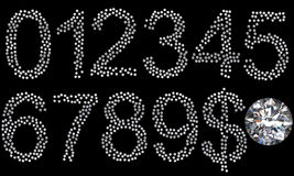 Diamond numerals, dollar symbol and gem Stock Photo