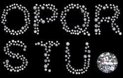 Diamond O-U letters with gemstone Stock Photo