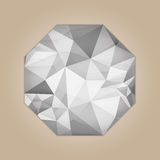 Diamond octagon shape. Grayscale color abstract polygonal vector illustration isolated on beige background Royalty Free Stock Image