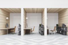 Diamond office cubicles with pictures, wood Royalty Free Stock Photography