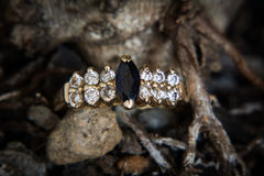 Diamond and onyx ring. stock photo