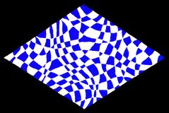Diamond optical horizontal. Horizontal hand drawn illustration of a diamond shape consisting of distorted geometric designs in blue and white, isolated on a Stock Photography