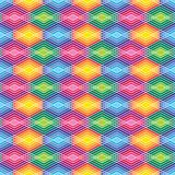 Diamond Outline Pattern in Bright Colors. Seamless pattern of outlined diamond shapes in primary colors Royalty Free Stock Photo