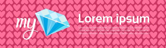 Diamond Over Heart Shapes Background pour Valentine Day Horizontal Template Banner illustration stock