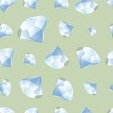 Diamond pattern. Blue diamond crystals seamless vector pattern Stock Photos
