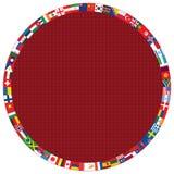 Diamond pattern with round flags frame Stock Photos