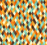 Diamond pattern. Seamless vector retro background. With beige, brown, orange, yellow, green diamonds Royalty Free Stock Photo