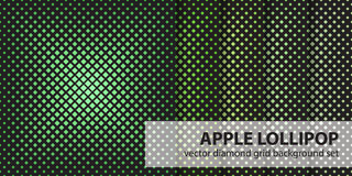 Diamond pattern set Apple Lollipop. Vector seamless geometric backgrounds Stock Photos