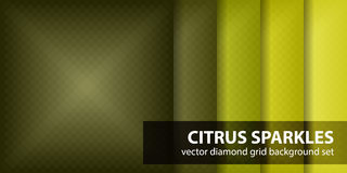 Diamond pattern set Citrus Sparkles. Vector seamless geometric backgrounds Royalty Free Stock Photography