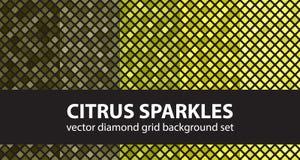 Diamond pattern set Citrus Sparkles Royalty Free Stock Images