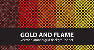 Diamond pattern set Gold and Flame Stock Images