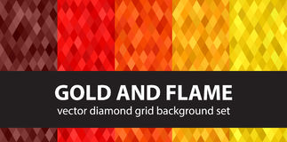 Diamond pattern set Gold and Flame Royalty Free Stock Images