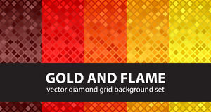 Diamond pattern set Gold and Flame Stock Photography