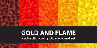 Diamond pattern set Gold and Flame Royalty Free Stock Photo