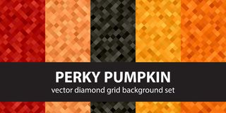 Diamond pattern set Perky Pumpkin. Vector seamless geometric bac. Kgrounds with red, peach, black, orange, pumpkin damonds Royalty Free Stock Image