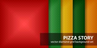 Diamond pattern set Pizza Story Stock Photo