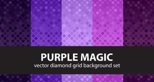 Diamond pattern set Purple Magic. Vector seamless backgrounds. Amethyst, lavender, plum, purple, violet rounded diamonds on gradient backdrops Royalty Free Stock Images