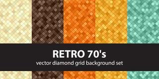 Diamond pattern set Retro 70's. Vector seamless geometric backgrounds. Diamond pattern set Retro 70's. Beige, brown, orange, yellow, green vector seamless Royalty Free Stock Images