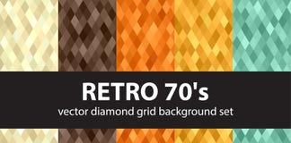Diamond pattern set Retro 70`s. Vector seamless geometric backgrounds with beige, brown, orange, yellow, green diamonds Stock Photography