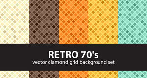 Diamond pattern set Retro 70`s. Vector seamless geometric backgrounds with beige, brown, orange, yellow, green rounded diamonds on colored backdrops Stock Images