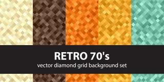 Diamond pattern set Retro 70`s Stock Photos