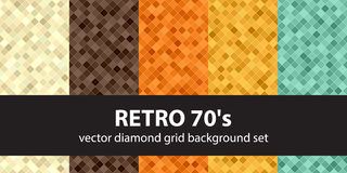 Diamond pattern set Retro 70`s. Vector seamless geometric backgrounds: beige, brown, orange, yellow, green square diamonds on colored backdrops Royalty Free Stock Photography