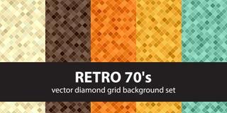 Diamond pattern set Retro 70`s Royalty Free Stock Photography