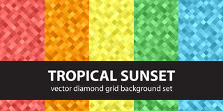 Diamond pattern set Tropical Sunset. Vector seamless geometric backgrounds with red, orange, yellow, green, blue square diamonds Royalty Free Stock Photo