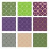 Diamond patterns. Diamond floral colored seamless patterns Stock Photo