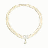 Diamond and pearl necklace Stock Photo