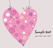 Diamond, pearls decorative pink heart greeting card Stock Photo