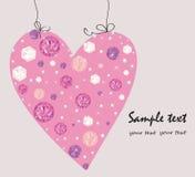Diamond, pearls decorative pink heart greeting card. Vector royalty free illustration