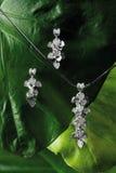 Diamond Pendant con gli orecchini Fotografia Stock
