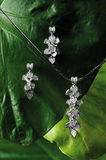Diamond Pendant with Earrings. A set of diamond earrings with pendant elegantly presented on green leafy background Stock Photography