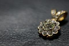 Diamond pendant on leather. Big Diamond pendant on black leather Royalty Free Stock Image