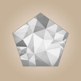 Diamond pentagon shape. Diamond hexagon shape grayscale color abstract polygonal vector illustration isolated on beige background Royalty Free Stock Photography