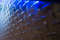 Diamond plate with blue lights Landscape Royalty Free Stock Images